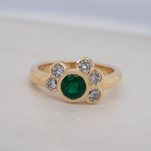 Emerald and Diamond Cluster Yellow Gold Ring