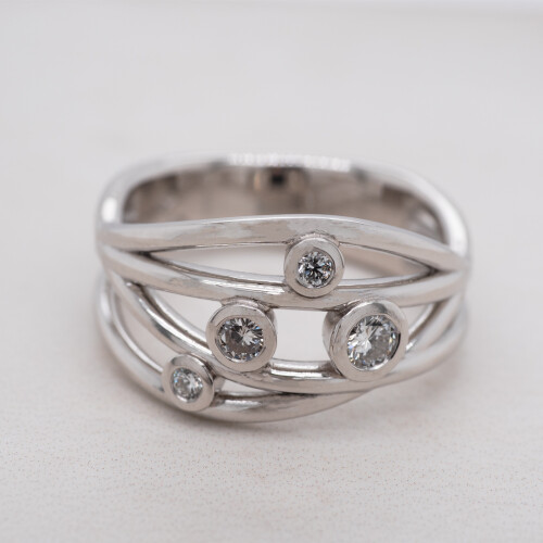 Waved Rubover Set Diamond Dress Ring