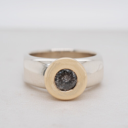 Salt and Pepper Two Tone Diamond Solitaire Ring