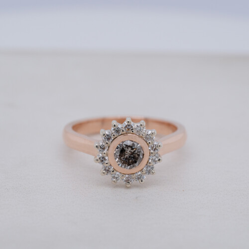 Salt and Pepper Diamond Halo Ring