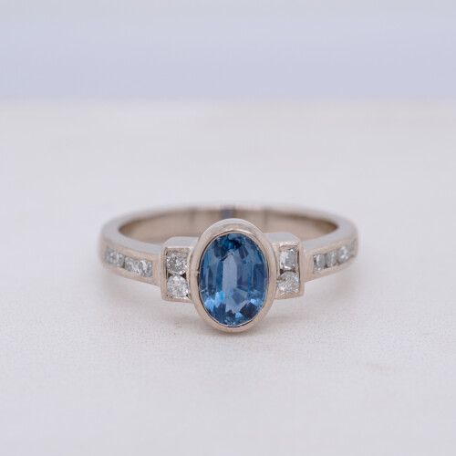 Sapphire and Diamond Rubover Set White Gold Geometric Ring