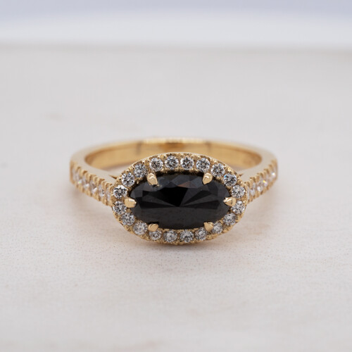 Rose Cut Black Diamond Yellow Gold Ring