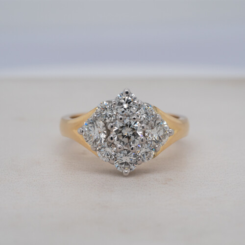 Diamond Shaped Diamond Cluster Ring