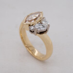 Cognac Diamond Marquise Cluster Yellow Gold Ring Angle BA6604 1080x1080