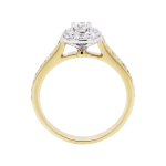 round cut diamond cushion shaped halo ring yellow gold front 1083x1083