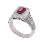 White Gold Octagonal Ruby Diamond Cluster Ring
