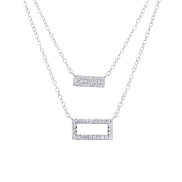White Gold Diamond Bar Double Strand Necklace