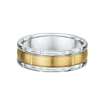 Two Tone Deluxe Grooved Mens Wedding Ring