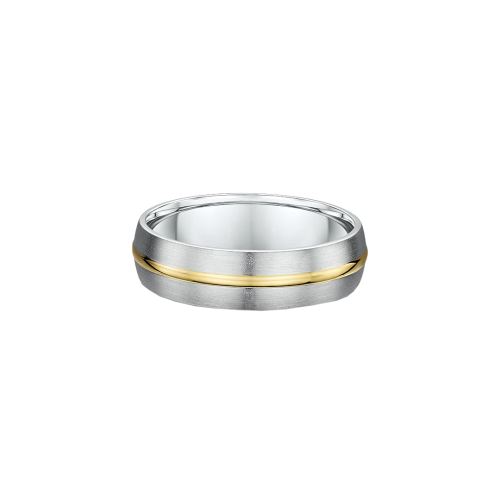 Two Tone Polished Inlay Wedding Ring