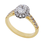 Oval Diamond Cluster Yellow Gold Ring