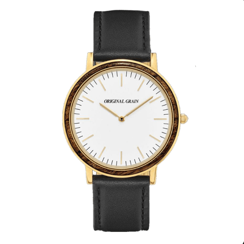 Minimalist Ebony Wood and Gold Watch